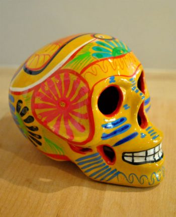 Tienda Elena - Calavera paon jaune - Décoration et artisanat mexicain - Fait main - hecho en Mexico - 2