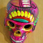 Tienda Elena - Calavera rose et doré - Décoration et artisanat mexicain - Fait main - hecho en Mexico