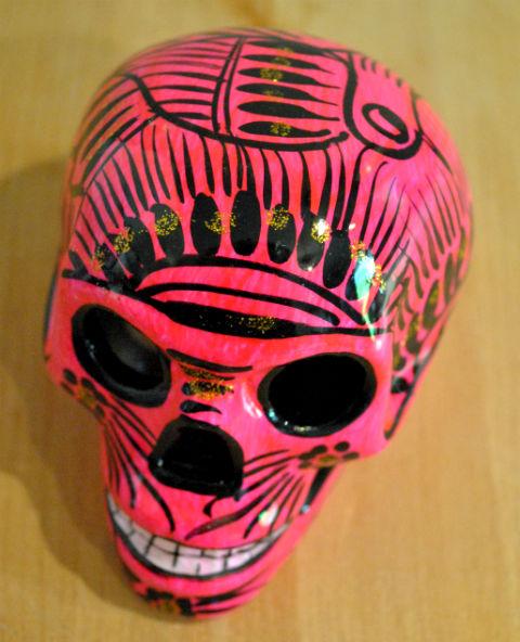 Tienda Elena - Calavera rose et noire - Décoration et artisanat mexicain - Fait main - hecho en Mexico
