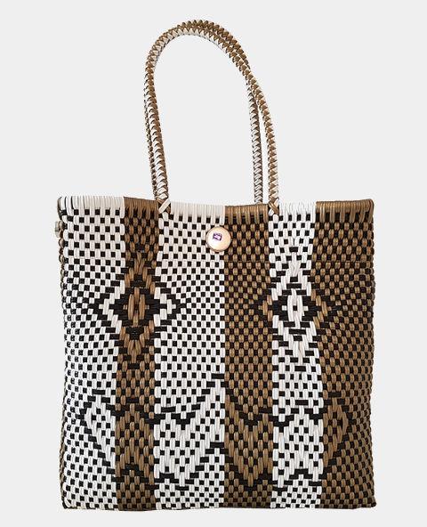 sac cabas mexicain tiss ethnique chic blanc et dor tienda elena mode et inspiration mexicaine. Black Bedroom Furniture Sets. Home Design Ideas