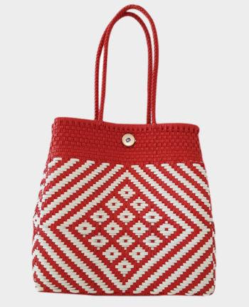 Tienda Elena - Mode et inspiration mexicaine - décoration et artisanat mexicain - fait main - hecho en Mexico - sac cabas mexicain tissé ethnique chic rouge et blanc - tendance bohème chic - 2