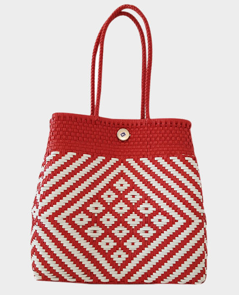 sac cabas mexicain tiss ethnique chic rouge et blanc tienda elena mode et inspiration mexicaine. Black Bedroom Furniture Sets. Home Design Ideas