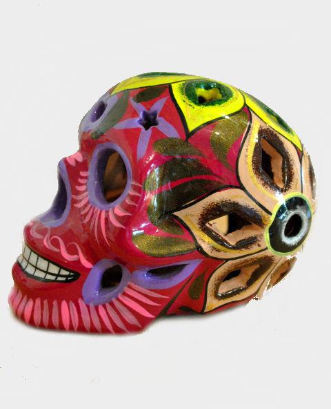 Tienda Elena - Déco du Mexique - Crâne mexicain en céramique fushia - Calavera fushia - Décoration et artisanat mexicain - Fait main - hecho en Mexico - 1