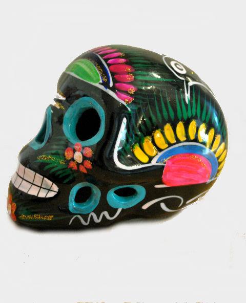 Tienda Elena - Déco du Mexique - Calavera noire - Décoration et artisanat mexicain - Fait main - hecho en Mexico - Crâne mexicain en céramique noir - 2