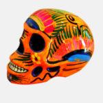 Tienda Elena - Crâne mexicain en céramique orange - Déco du Mexique - fait main - 1