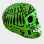 Tienda Elena - Crâne mexicain en céramique vert et noir - Calavera verte - Décoration et artisanat mexicain - Fait main - hecho en Mexico - Déco du Mexique - 1