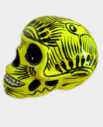 Tienda Elena - Déco du Mexique - Crâne mexicain en céramique jaune et noir - Calavera mexicana - Décoration et artisanat mexicain - Fait main - hecho en Mexico - 1