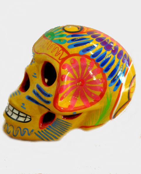 Tienda Elena - Crâne mexicain en céramique jaune - déco mexicaine - calavera - 1