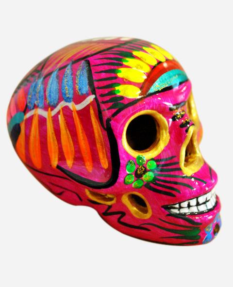 Tienda Elena - Crâne mexicain en céramique rose et doré - déco du Mexique - fait main - 1