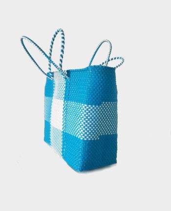 Tienda Elena - Mode et inspiration mexicaine - décoration et artisanat mexicain - fait main - hecho en Mexico - Sac cabas mexicain tissé ethnique chic bleu ciel et blanc - tendance bohème chic - 2