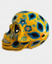 Tienda Elena - Déco du Mexique - Crâne mexicain en céramique jaune et bleu - Calavera jaune et bleue - Décoration et artisanat mexicain - Fait main - hecho en Mexico - 1