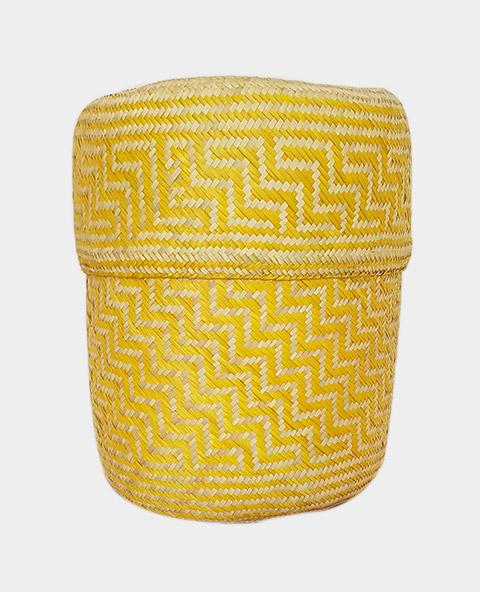 Tienda Elena - Panier jaune en palme tressée - Artisanat made in Mexico - déco maison - 1