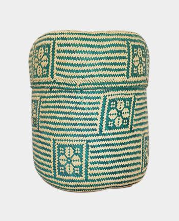 Tienda Elena - Panier vert en palme tressée - Artisanat made in Mexico - déco maison - 1