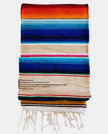 Tienda Elena - Sarape - Couverture mexicaine beige - déco mexique - made in mexico - fait main - pièce unique - 1
