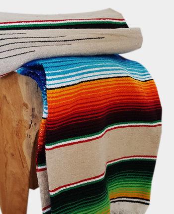Tienda Elena - Sarape - Couverture mexicaine beige - déco mexique - made in mexico - fait main - pièce unique - 2