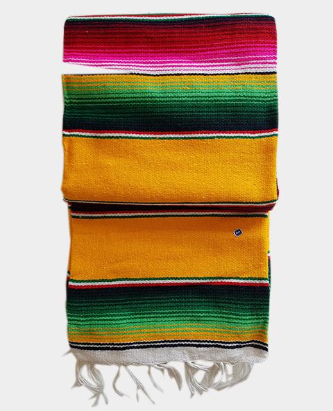 Tienda Elena - Sarape - Couverture mexicaine jaune - déco mexique - made in mexico - fait main - pièce unique - 1