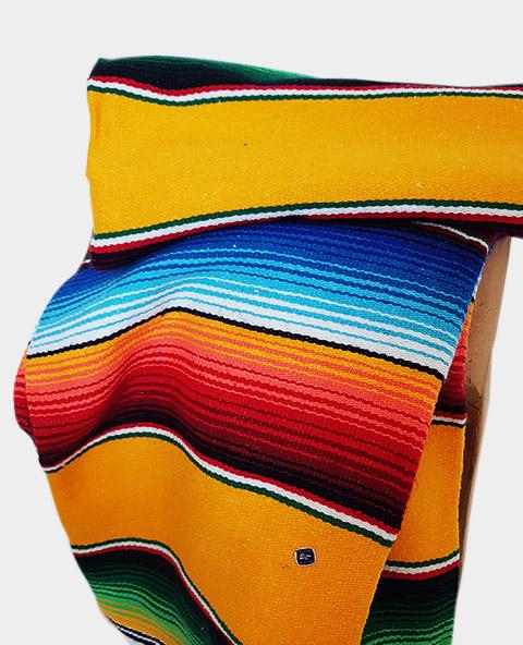 Tienda Elena - Sarape - Couverture mexicaine jaune - déco mexique - made in mexico - fait main - pièce unique - 2