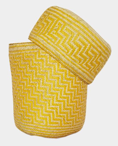 Tienda Elena - Panier jaune en palme tressée - Artisanat made in Mexico - déco maison - 2
