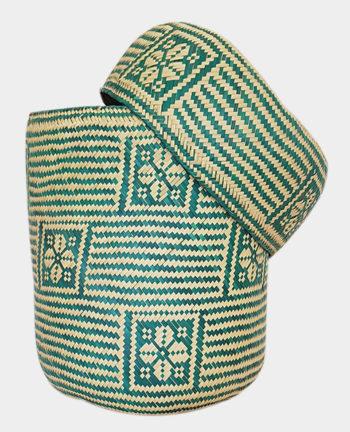 Tienda Elena - Panier vert en palme tressée - Artisanat made in Mexico - déco maison - 2