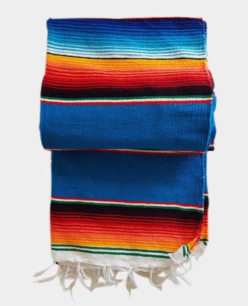 Tienda Elena - Sarape - Couverture mexicaine turquoise - déco mexique - made in mexico - fait main - pièce unique - 1
