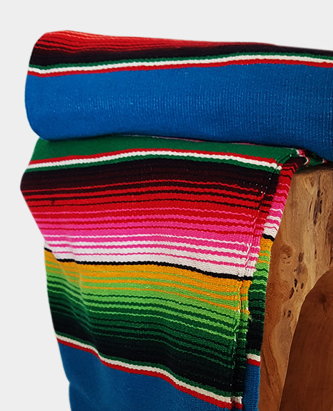Tienda Elena - Sarape - Couverture mexicaine turquoise - déco mexique - made in mexico - fait main - pièce unique - 2