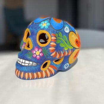 crane-mexicain-en-céramique-bleu et orange mat