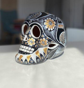 Crâne mexicain en céramique noir et doré - Tienda Elena - Déco du Mexique