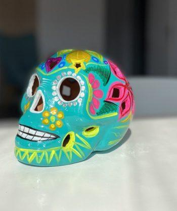 Crâne mexicain en céramique vert - Tienda Elena - Déco du Mexique