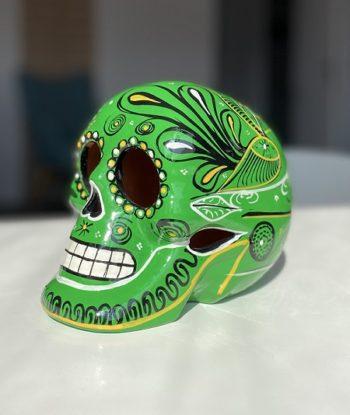 Crâne mexicain en céramique vert et noir - Tienda Elena - Déco du Mexique
