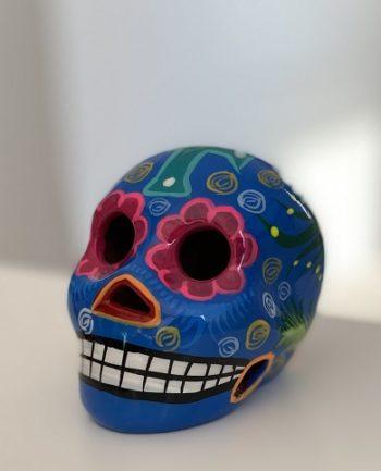 Petit crâne mexicain en céramique bleu - Tienda Elena - Déco du Mexique