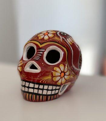Petit crâne mexicain en céramique rouge - Tienda Elena - Déco du Mexique