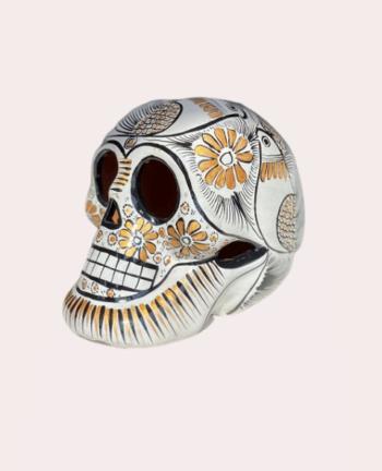 Tienda Elena Crâne mexicain en céramique blanc et doré