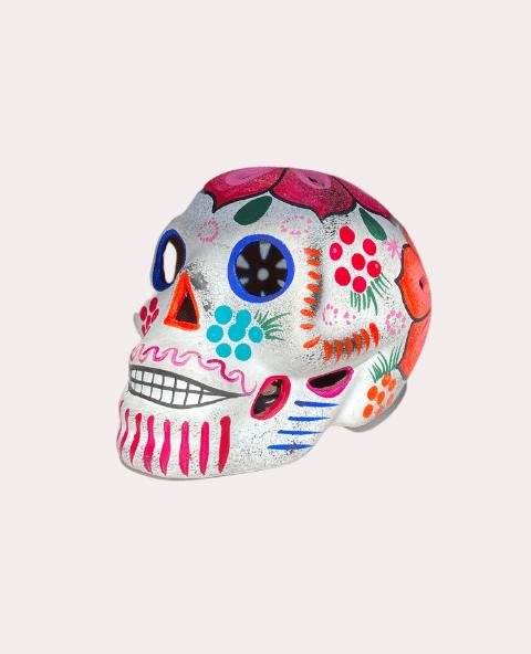 Crâne mexicain en céramique blanc mat - Tienda Elena - Déco du Mexique