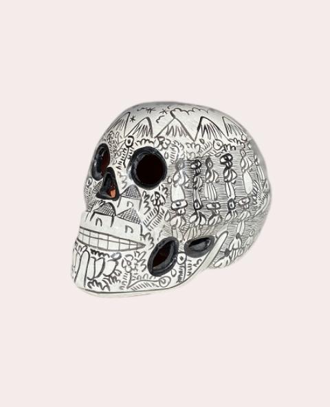 Crâne mexicain en céramique blanc et noir - Tienda Elena - Déco du Mexique