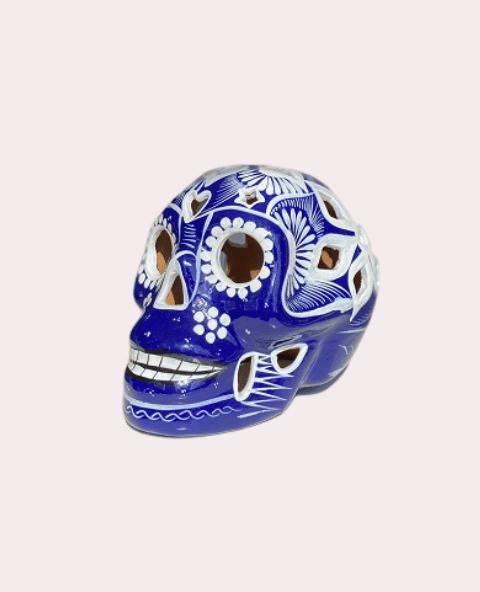 Crâne mexicain en céramique bleu et blanc - Tienda Elena - Déco du Mexique