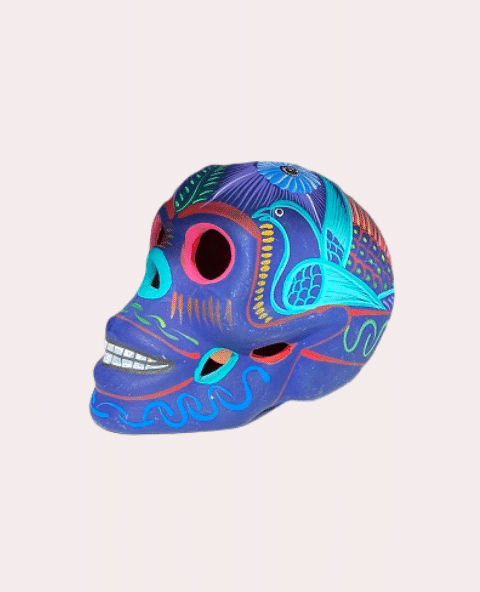 Crâne mexicain en céramique bleu mat - Tienda Elena - Déco du Mexique