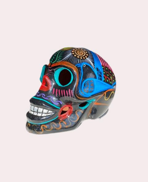 Crâne mexicain en céramique noir - Tienda Elena - Déco du Mexique