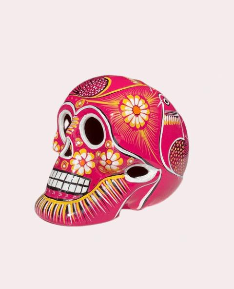 Tienda Elena Crâne mexicain en céramique rose