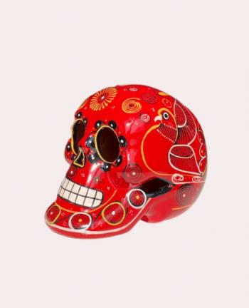 Crâne mexicain en céramique rouge - Tienda Elena - Déco du Mexique