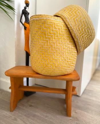 Tienda Elena - Panier jaune en palme tressée - Artisanat made in Mexico - déco maison