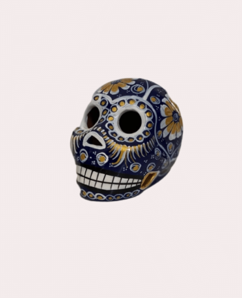 Petit crâne mexicain en céramique bleu et doré - Tienda Elena - Déco du Mexique