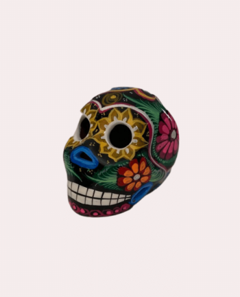 Petit crâne mexicain en céramique noir et couleurs - Tienda Elena - Déco du Mexique