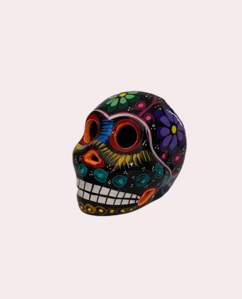 Petit crâne mexicain en céramique couleurs et noir - Tienda Elena - Déco du Mexique