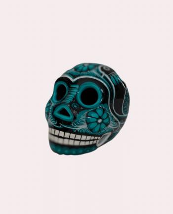 Petit crâne mexicain en céramique noir et vert - Tienda Elena - Déco du Mexique