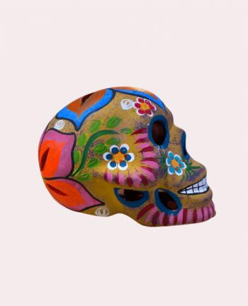 Crâne mexicain en céramique beige mat - Tienda Elena - Déco du Mexique
