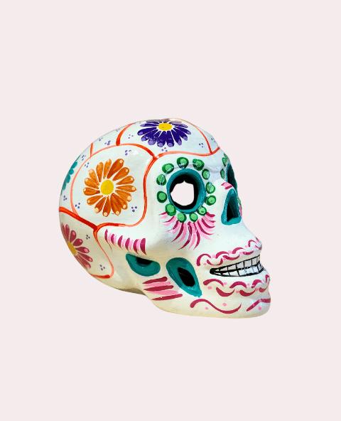 Crâne mexicain en céramique blanc - Tienda Elena - Déco du Mexique