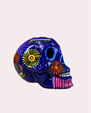 Crâne mexicain en céramique bleu roi - Tienda Elena - Déco du Mexique
