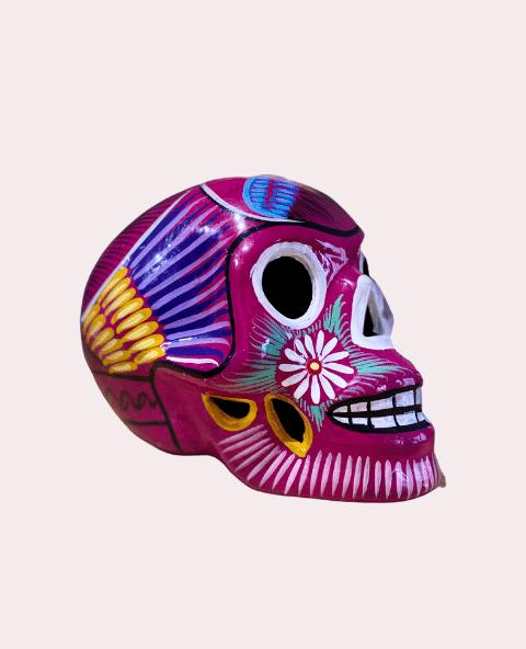 Crâne mexicain en céramique fushia - Tienda Elena - Déco du Mexique