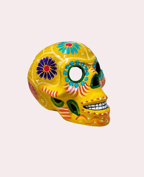 Crâne mexicain en céramique jaune - Tienda Elena - Déco du Mexique
