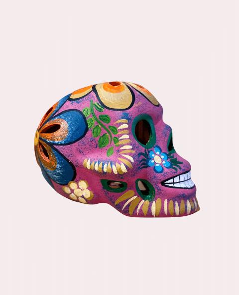 Crâne mexicain en céramique rose mat - Tienda Elena - Déco du Mexique